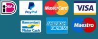 overzicht betaalmogelijkheden paypal, ideal, mastercard, meastro, visa, bancontact